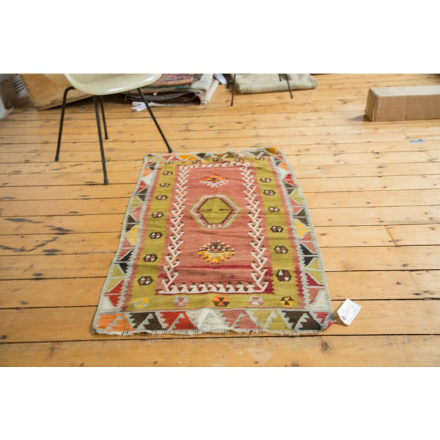 "Lime Green Vintage Kilim Rug - 2'6"" X 4'3"" - Image 3 of 6"