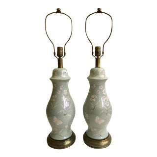 Vintage Ceramic Floral Lamps - a Pair