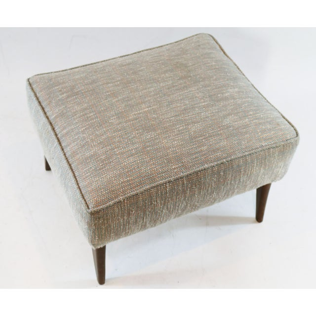 Mid Century Blue Tan And Ivory Tweed Ottoman - Image 4 of 4