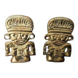 Brass Mayan Bookends - A Pair