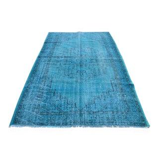 Turkish BlueTribal Oushak Floor Rug - 5′4″ × 8′4″