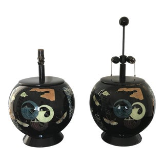 Art Deco Decoupage Table Lamps - a Pair