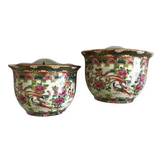 Ceramic Gilded Chinoiserie Wall Planters - a Pair