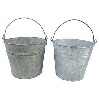 Vintage Zinc Garden Buckets - A Pair