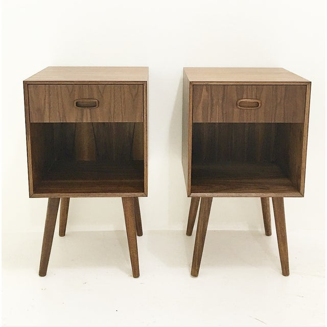 Image of Mid-Century Style Nightstands - A Pair