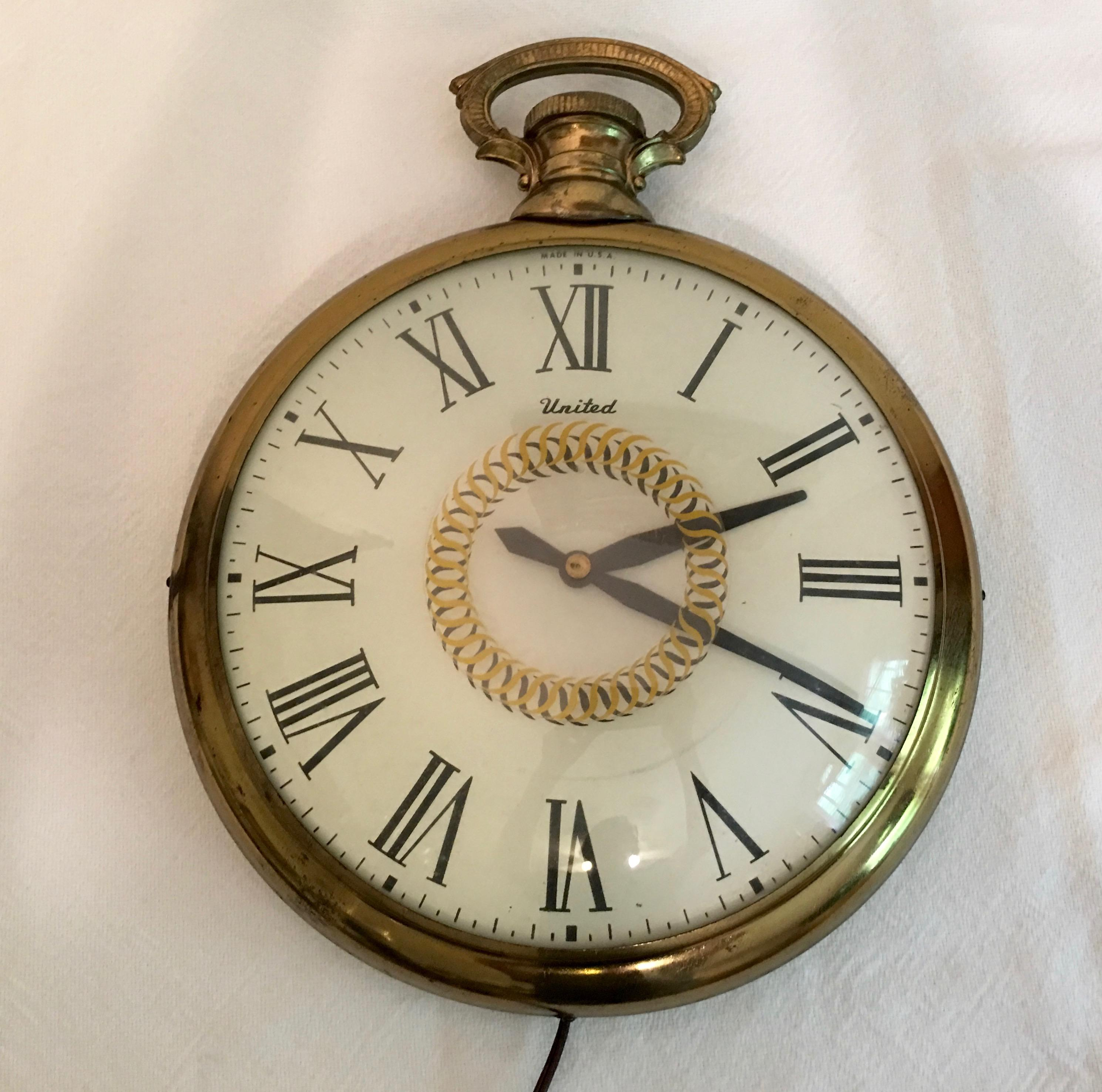 midcentury united pocket watch wall clock image 6 of 8