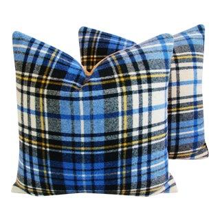 Blue Scottish Tartan Plaid Wool Pillows - Pair
