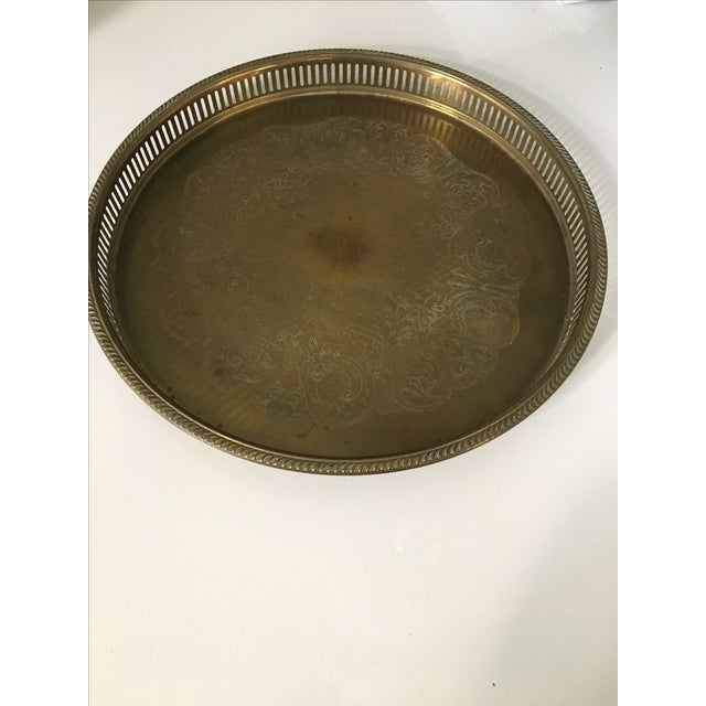 Vintage Round Brass Tray - Image 3 of 3