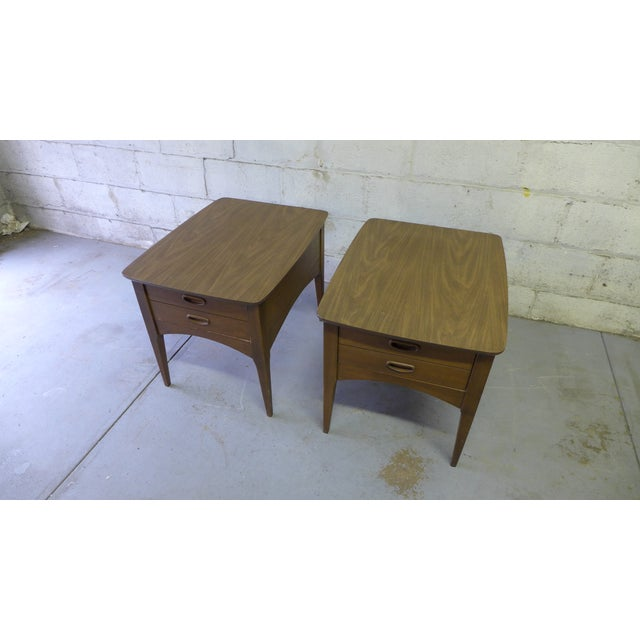 Mid Century Modern Walnut Nightstands - A Pair - Image 6 of 6