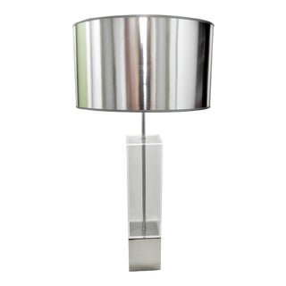 Mid-Century Chrome & Lucite Laurel Table Lamp Modern MCM Millennial