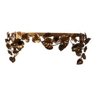 Gilt Metal Glass Top Console Wall Mounted Shelves - A Pair