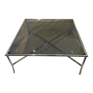 Milo Baughman Style Hollywood Regency Chrome Table