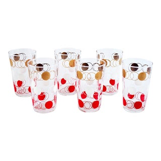 Gold, Red & White Polka Dot Glasses - Set of 6