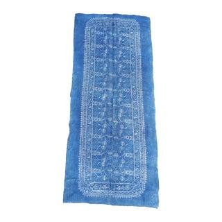Vintage Softly Faded Blue Batik Table Runner