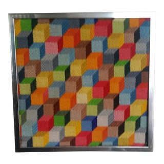 Colorful Cubist Op Art Needlework