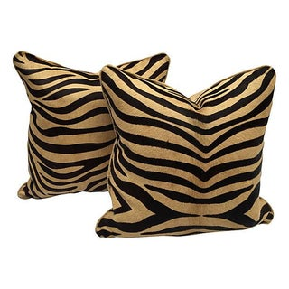 Zebra Cowhide Pillows - Pair
