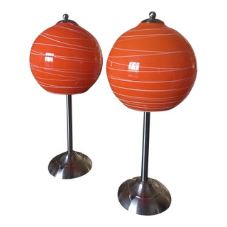 Nickel & Blown Glass Table Lamps - A Pair