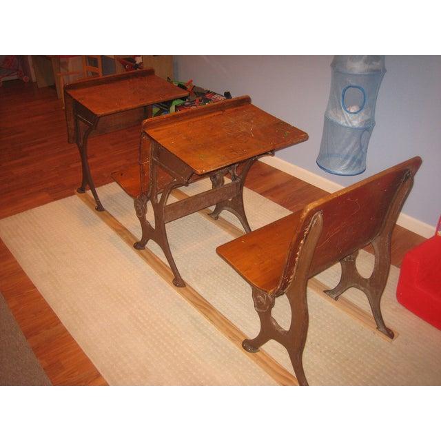 row of antique school desks 3 pieces chairish