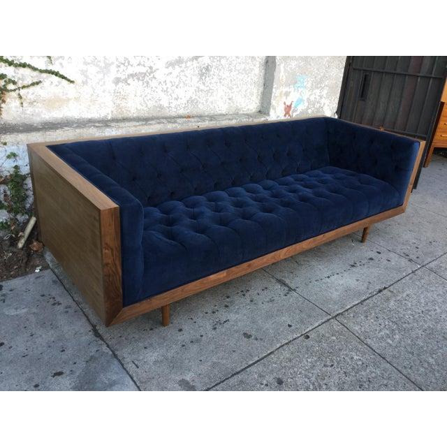 Blue Tufted Walnut Framed Sofa - Image 4 of 5
