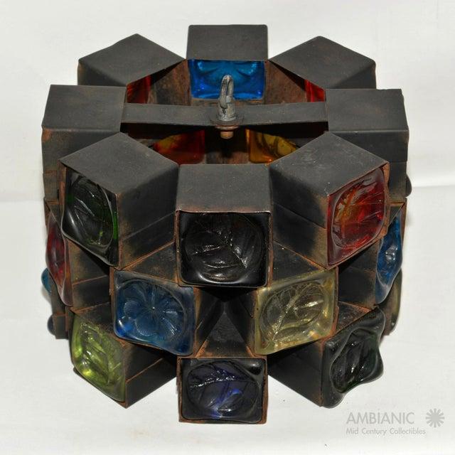 Feders Pendant Ceiling Fixture Handblown Glass and Steel Brutalist Chandelier - Image 8 of 8