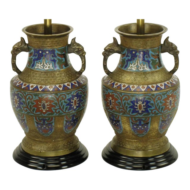Pair of Japanese Brass Champlevé Cloisonné Urn-Form Table Lamps - Image 1 of 6