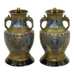 Image of Pair of Japanese Brass Champlevé Cloisonné Urn-Form Table Lamps
