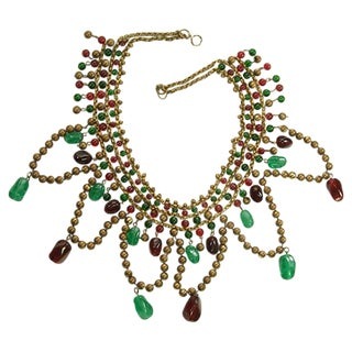 Unsigned Chanel Red & Green Gripoix Glass Necklace