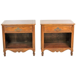 Baker Country French Walnut Nightstands - A Pair