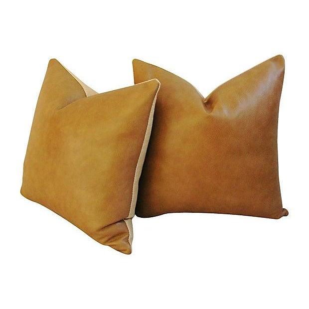 Genuine Italian Leather Pillows - Pair - Image 3 of 5
