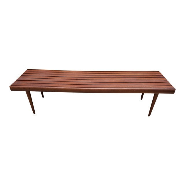 Mid-Century Slat Bench Coffee Table - Image 1 of 7