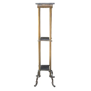 Vintage Three Tier Brass and Slate Stand