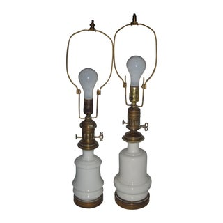 European Porcelain & Brass Table Lamps - A Pair