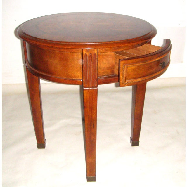 Round Side Table with Inlaid Top - Image 4 of 7