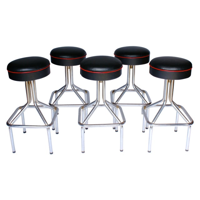 Tubular Steel Bar Stools - Set of 5 - Image 1 of 6