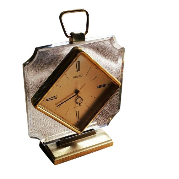Image of 1970s Vintage Lucite and Gold Seiko Clock