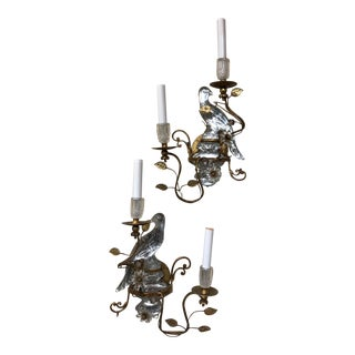Bagues Sconces in Gilt Metal With Cut Rock Crystal Parrots - A Pair