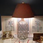 Image of Vintage Bottle & Woven Jute Net Table Lamp