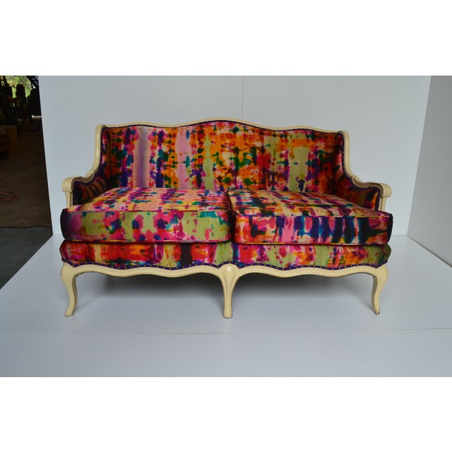 Image of Hand Painted Silk Settee