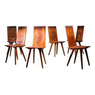 Jean Touret Set of Six Oak Dining Chairs for Marolles, France, 1950s