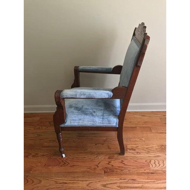 Blue Velvet Eastlake Chair - Image 5 of 9