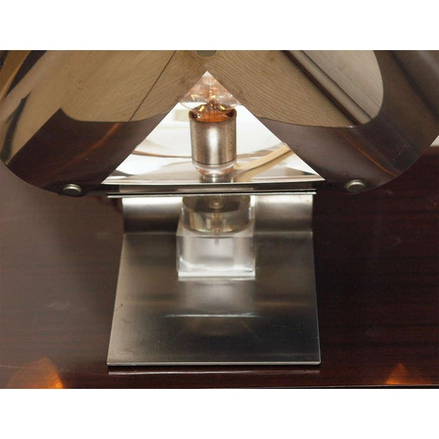 Chromed Metal Sculptural Table Lamp - Image 5 of 11