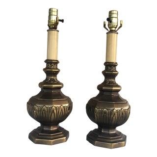 Brass Acanthus Detail Lamps - A Pair