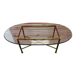 Oval Brass & Glass Coffee Table
