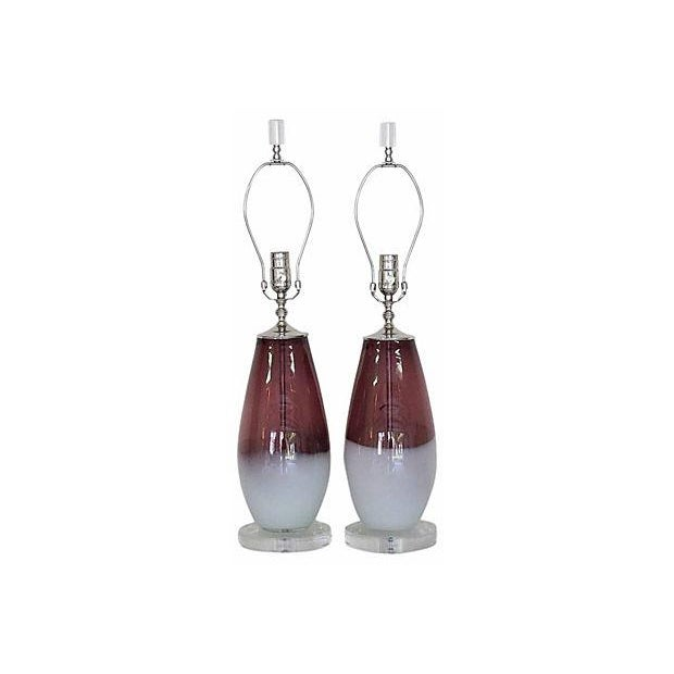 Amethyst & White Italian Lamps - A Pair - Image 2 of 4