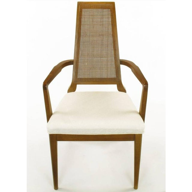 Sleek, circa 1950s Modern Walnut and Cane Dining Chairs - Image 2 of 10