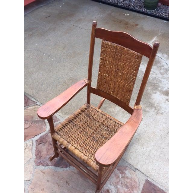 Teak Rattan Rocking Chair - Image 6 of 11