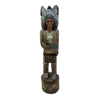 Native American Indian Man Hand Carved Cigar Store Sculpture