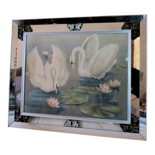 1940's Mirrored Framed Swans