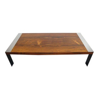 Milo Baughman Rosewood and Chrome Coffee Table