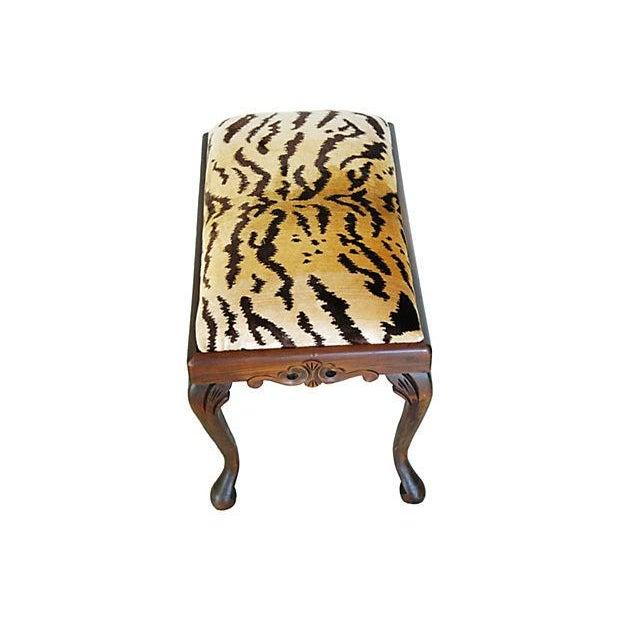 Vintage Scalamandre Le Tigre Silk Velvet Bench - Image 4 of 8